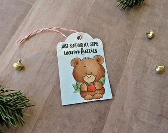 Set of Six Sending Warm Fuzzies Christmas Gift Tags- Teddy Bear- Winter Tag- Hot Cocoa- Hot Chocolate- Long Distance Gift- Warm Tag