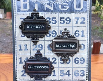 Karmic Bingo No. 4 - Mixed Media Assemblage on Salvaged Wood