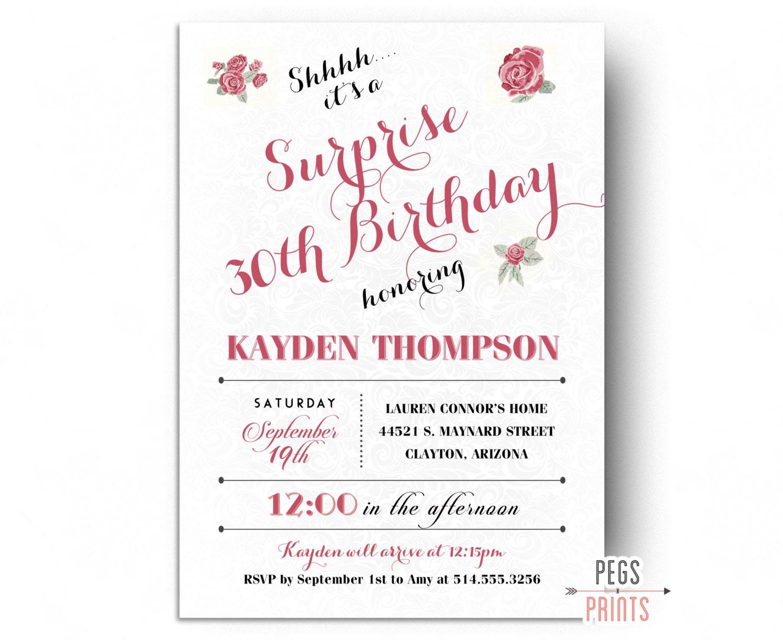 surprise party invitation      printable surprise birthday