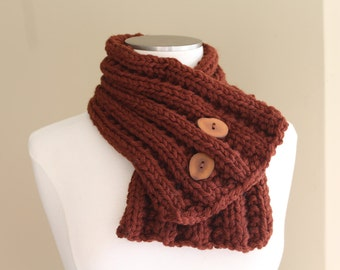 Rust Brown Chunky Knit Button Scarf, Chunky Knit Cowl, Knit Neckwarmer Scarf, Brown Ribbed Button Scarf, Men's Wool Scarf , Winter Trends
