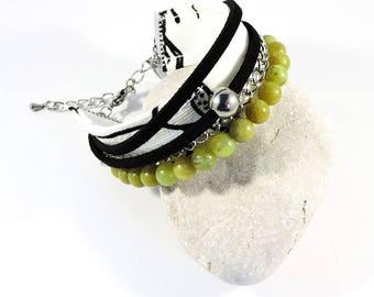 Multi-rows bracelet with Jade stontes