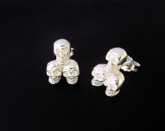 3 Skulls Skull skull Earrings sterling Silver