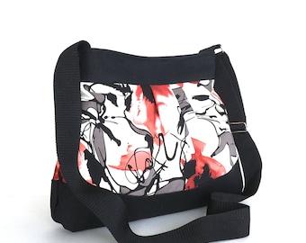 Women cross body bag,Floral purse,Floral shoulder bag, Casual day bag, Girls purse, Multicolour bag,Fabric handbag,Ready to ship