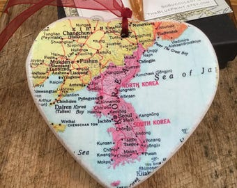 Korea Map Christmas Ornament, Your Special Place in the Heart / HONEYMOON Gift / Wedding Map Gift / Travel Tree Ornament /