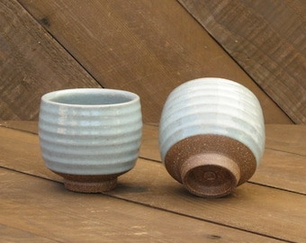 Teabowl - Yunomi - Carved - Ceramic Cup - Stripe - Blue Celadon Glaze - Wheel Thrown - Reduction - Go Play Clay - Guiliotis - Made to Order