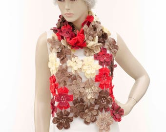 Crochet long woman scarf  colorful winter scarf ,