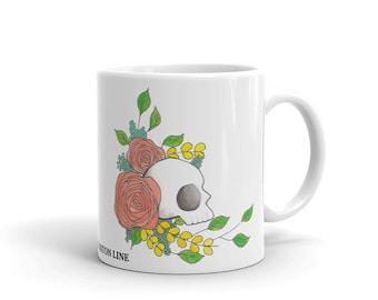 Floral Skull Coffee Mug