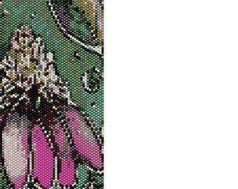 Pink Flower Peyote Cuff Beaded Bracelet Pattern