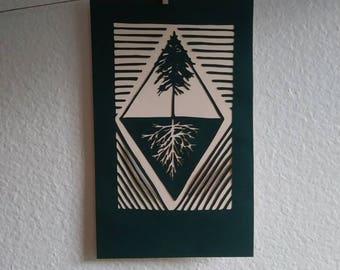 Die cut linoprint tree with roots