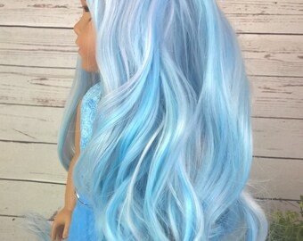 """Custom 10-11"""" Doll Wig Fits Most 18"""" Dolls Gorgeous Extra Long """"Day Dream"""" Pale Blue- Heat Safe"""