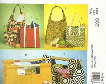 MCCALLS PATTERN M5898 shopping bags, tote bags, craft bags, knitting bags, lunch bag, new and uncut