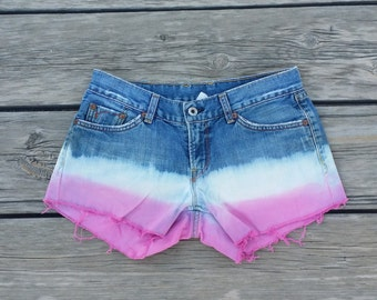 Dip Dyed Ombre Denim Pink Shorts Size 4/27 Lucky Brand