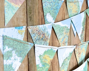 Large Vintage Map Triangle Garland  - 5, 10, 15, 20 or 30 feet of bunting