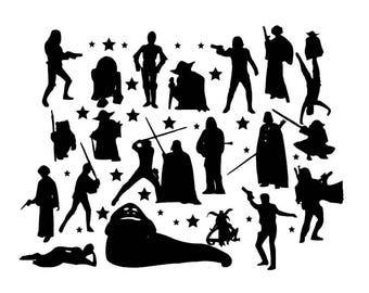 Starwars Die Cut Out Silhouette 20 topper Shapes. fairy jar, cardmaking, scrapbooking, party bag fillers