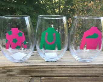 Jockey Silks Custom Wineglass Set of 4