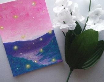 Purple Mountain Fireflies Original ACEO Painting 2018