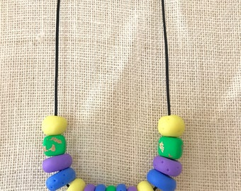 Blue, purple and yellow handmade polymer clay chunky necklace, 70cm polyester cord with breakaway clasp