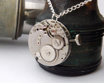Steampunk Necklace, Featuring a Vintage Watch Mechanism.