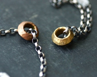 Chunky Sterling Chain Bracelet with Brass or Copper Ring - Antique Finish