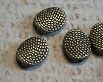 10 beads oval disc metal antique bronze 10mm