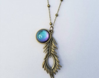 Peacock Feather Necklace - Handmade - Blue Green Purple Pink Teal - Color Shifting- Antique Bronze Large Necklace