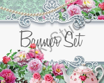 Shop Banner Set shop icon,cover/banner,avatar/profile picture - shabby chic,frame,roses,cupcake,teapot