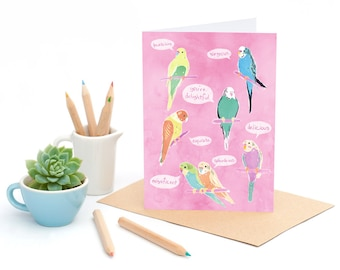 Birds of Endearment - bird compliments -  Greeting card