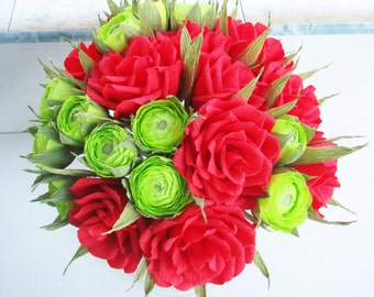 Red paper wedding decor Green buds Wedding bouquet Ranunculus Bridal bouquet red roses centerpiece Paper bouquet Paper flower bouquet