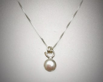 Sterling Tiny Pearl Necklace