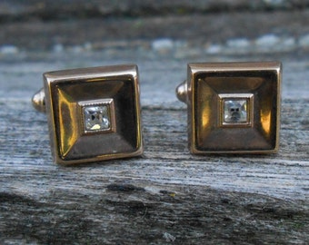 Vintage Gold Tone Rhinestone Square Cuff Links. 1970s. Excellent Condition. Gift For Groomsmen, Groom, Dad, Husband.