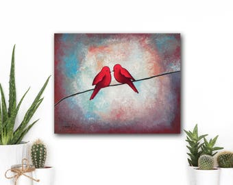 Birds on a Wire Painting, Valentines Day Gift for Couple, Love Birds Bedroom Decor, Wedding Gift
