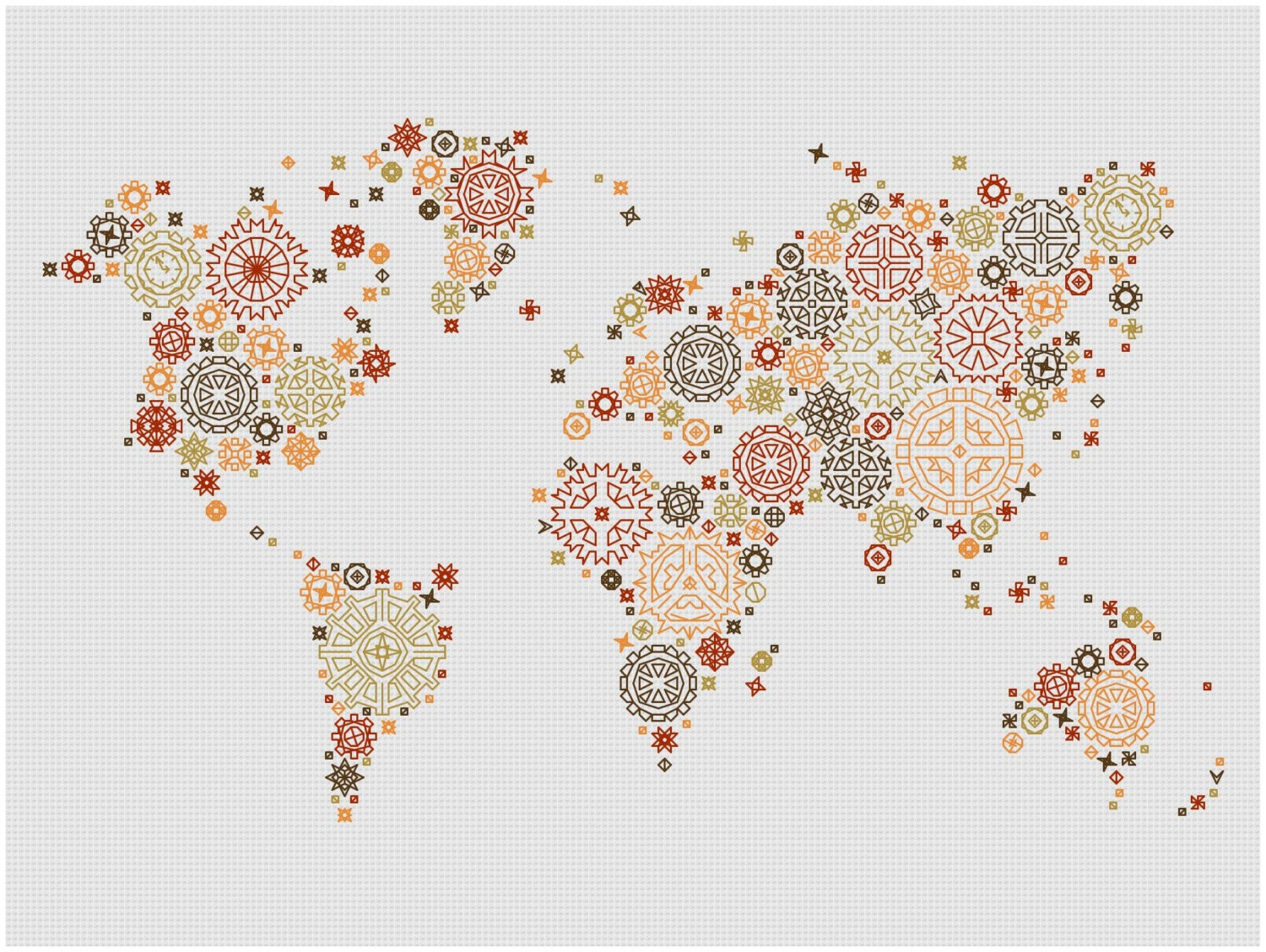 Steampunk world map modern blackwork cross stitch pattern this is a digital file gumiabroncs Choice Image