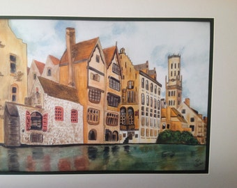 BRUGES BRUSSELS Landscape Watercolor City Water Town Europe European Giclee Print Unframed