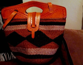 African Leather Bag   African Bag  African Handbag   African Handwoven Bag  African Leather  Summer Bag  Cross Body Leather Bag   African