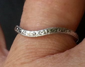 White Gold Curved Band - 14kt Curved Wedding Band - Antique Reproduction Wedding Band - Antique Style Curved Wedding Band