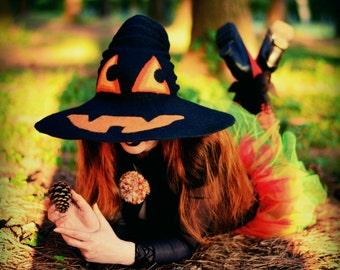 "Costume Hat. ""Jack-O-Lantern"" Witch Hat. Wizard Hat. Fantasy Hat. Cosplay Hat. LARP."