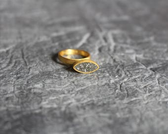 Concrete ring, minimal ring, minimalist, contemporary ring, modern ring, Sterling silver concrete ring, gold plated statement ring