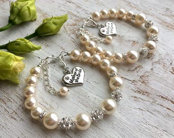 Mother of the Groom gift from bride, mother in law gift from bride and groom. Swarovski pearl bracelet Mother wedding gift from daughter son