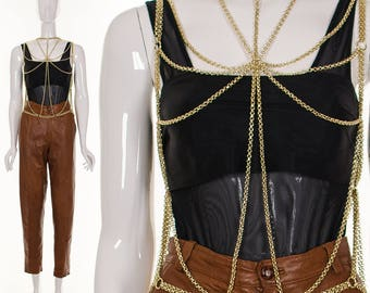 1950's RARE Gold Body Chain NWT Mint Erotic Body Jewelry Metal Chain Vest Burlesque Body Chain