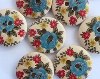 Wood button scrapbooking blue flower round