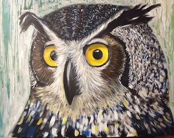 OWL in large format acrylic painting