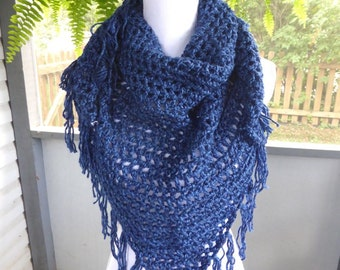 SALE Crochet Shawl ~ Lightweight Scarf ~ Any Season Scarf ~ Blue Shawl ~ Triangle Fringe Scarf ~ Crochet Fringe Scarf ~ Boho Scarf