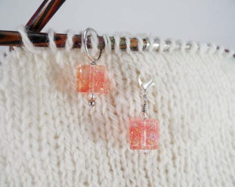 Watermelon Pink Captured Fiber and Resin Stitch Marker and Progress Keeper Set