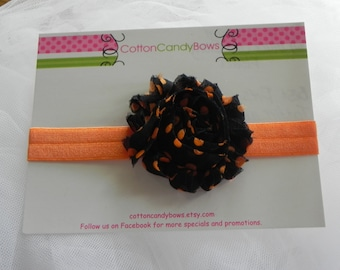 Black with Orange Dots Shabby Chic Flower on Orange Fold Over Elastic Headband, Hair Accessories, Toddlers, Girls, Photo Prop