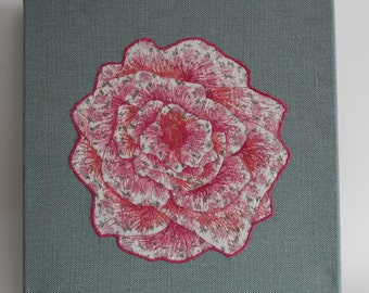 Free-motion Embroidery Rose Wall Hanging