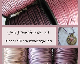Metallic .5mm Pinks leather cord, .5mm, Metallic leather, .5mm Leather Cord, Lavender Leather, Round Leather Cord,Metallic Leather Cord