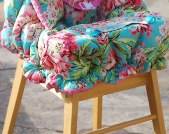 Shopping Cart Cover for Girls- Padded Boutique Shopping Cart Cover- Amy Butler Love Bliss Bouquet