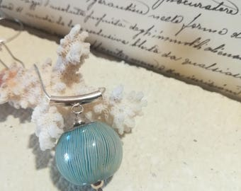 Bead pendant, murano glass and sterling silver