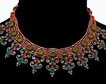 Elegant Vintage Necklace - Turquoise, Coral, Amber Resin