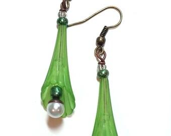 Green Trumpet Flower Earrings
